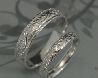 Solid 14K White Gold Flourish Wide Wedding Band Set Swirl Patterned His  and HersRococo in the DiscoThin Sterling Silver Swirl Patterned. Etsy Vintage Wedding Rings. Home Design Ideas