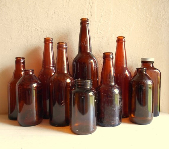 Instant Collection of 10 Vintage Amber Brown Glass Bottles