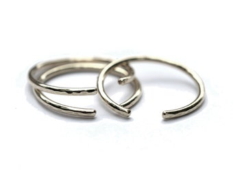 Silver Cuff Ring, Simple Midi Ring, Open Band, Stacking Ring