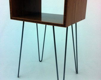 Mid Century Modern Open Bedside Side Table -Set of Two - Atomic Era Design In Caramelized Bamboo w/ Hairpin Legs