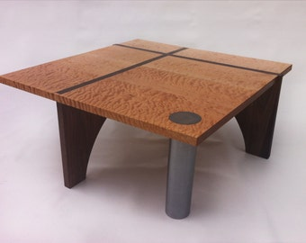 Modern Coffee Cocktail Table - Contemporary Square Quilted Maple, Walnut & Steel 40x40 with Secret Hidey Hole in Leg