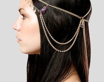 Royal gold and amethyst chain headdress, Egyptian princess,