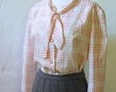 Vintage Tie-neck Blouse - M/L - Red Windowpane Plaid