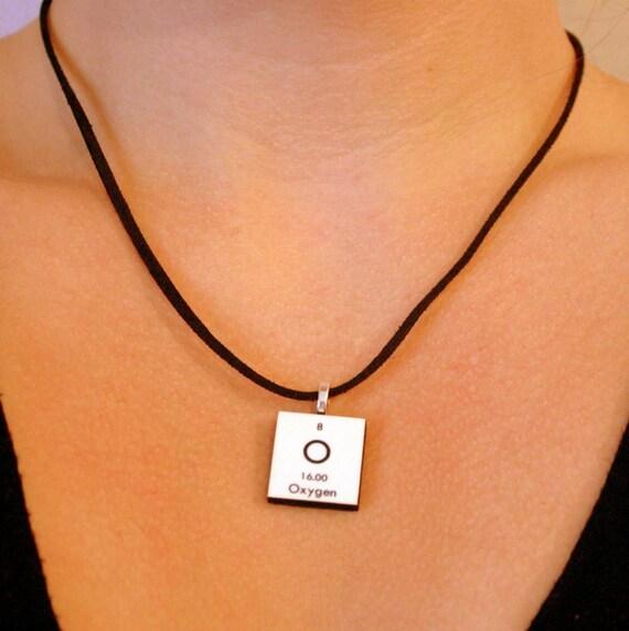 Science Personalized Necklace - Pendant, Charm - Chemistry, Nerdy Geek Gift Idea - Oxygen