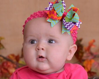 New Small Size Beautiful Bright Dark Purple Lime Orange Turquoise and Shocking Pink Over The Top  Bow on Matching Headband