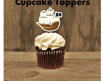 Pirate Party - Set of 12 Pirate Ship Cupcake Toppers by The Birthday House