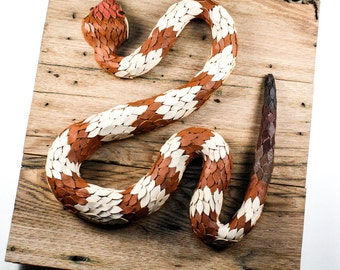 SALE Copperhead Snake Wall Sculpture - Hand Cut Leather Scales