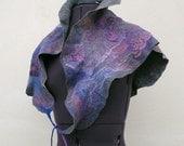 Nuno felted ruffled triangle scarf