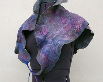 Nuno felted ruffled triangle scarf
