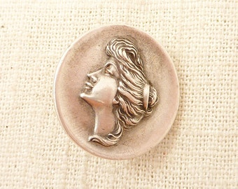 SALE --- Antique Art Nouveau Maiden Bust Dress Clip
