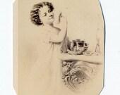 1860s - 1870s Antique CDV Photograph. Little Girl Powdering her Nose