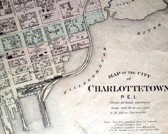 1880 Large Rare Vintage City Map of Charlottetown, PEI - Vintage City Map - Old City Map - Handcolored