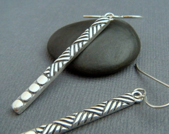 "long bar earrings. sterling silver dangle. drop geometric tribal. silver and black oxidized. simple line jewelry. large stick 1 1/2"" bar"