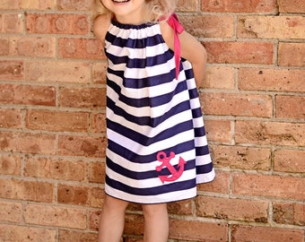 Boutique Navy stripe pillowcase dress with pink anchor  sizes 12 to 8