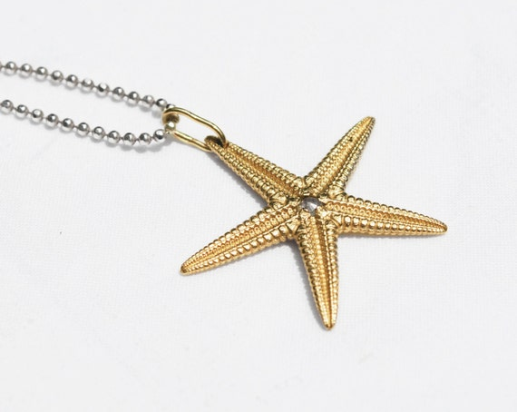 Large Solid 10k Yellow Gold Starfish Charm with Rose Cut Grey Diamond Center