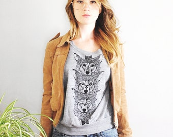 Wolf Totem, womens, pullover, raglan pullover, camp clothing, casual, jersey sweatshirt, wolf sweatshirt, wolves, totem, Simka Sol