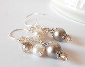 Beige and Ivory Bead Cluster Dangle Earrings