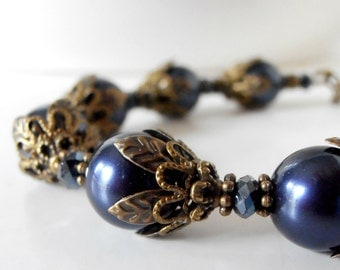 Navy Blue Bridesmaid Jewelry Sets, Navy Pearl Bracelet, Antiqued Style Wedding Jewelry, Beaded Bracelet, Bridesmaids Gifts, Bronze