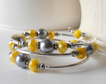 Yellow Wedding Jewelry, Yellow and Grey Bridesmaid Gift, Beaded Memory Wire Bracelet, Pearl and Crystal Bangle