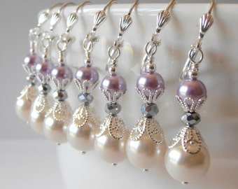 Purple Bridesmaid Earrings Pearl and Crystal Earrings Bridesmaid Pearl Earrings Ivory and Lilac Earring Pearl Dangle Earring Wedding Jewelry