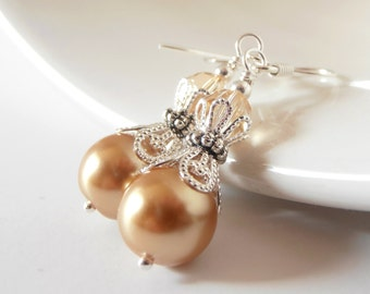 Pale Gold Pearl Earrings, Beaded Bridesmaid Jewelry with Swarovski Elements, Champagne Wedding Sets, Handmade