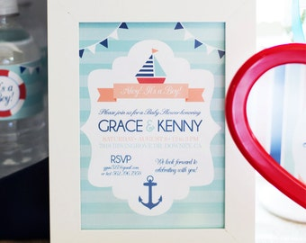 Nautical Invitation, Sail Boat Invitation, Ahoy It's a Boy Baby Shower Invitation by MayDetails 5x7inches