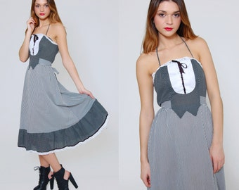 SALE Vintage 70s Striped Sun Dress  POLKA DOT & Stripe Tuxedo Bib Halter Dress Prairie Dress