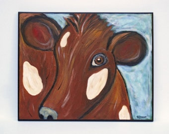 SALE Modern Brown Cow Painting 16x20 Fine Art Acrylic on Canvas Colorful Contemporary Original Farm Animal Portrait large art in frame