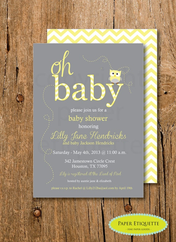 owl yellow and gray baby shower chevron invitation print your own