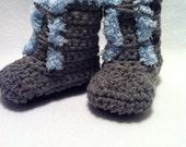 Baby mukluks boots booties gray blue fleece trim