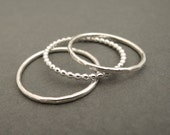 3 Sterling Silver Rings Stackable Rings Stacking Rings sterling silver bead wire stackable rings