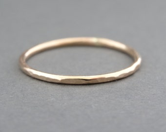 Gold Ring hammered stacking ring thumb ring or knuckle ring thin gold stacking ring gold jewelry
