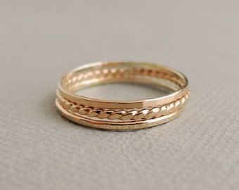 Super Thin Gold Stacking Ring set of three dainty tiny shiny above the knuckle ring, midi ring, thumb ring
