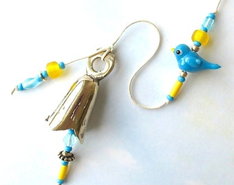 Beaded Garden Chime. Wind Chime. Bluebird of Happiness. Bright Eyed Birdies. Lampwork Glass Beads. Aqua. Yellow. Antiqued Gold. Brass Bell