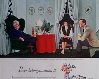 Beer Belongs 1947  Magazine Advertisment -  Beer Ads, Magazine Ad, Vintage Ads, Paper Ephemera, Wall Decor