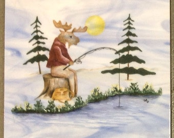 Day in the Life of a Moose ornament set of 4