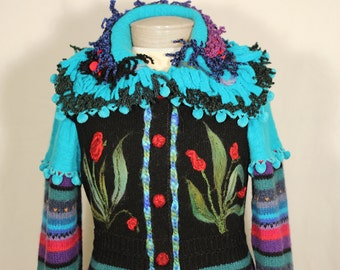 Recycled sweater coat Multicolored floral fantasy embroidered Upcycled Eco clothing  Large