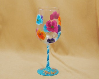 Mothers Day 2014 Hand Painted Wine Glass
