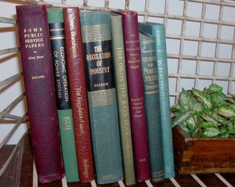 Instant Collection of 8 Muted Red, Blue and Green Vintage and Antique Books