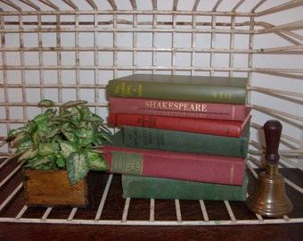 Instant Collection of 6 Moss Green and Brick Red Vintage and Antique Books