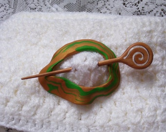 Green and Gold Shawl Pin & Wood Hair Stick Pick - Hand painted