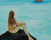 "Mermaid Painting Print Mermaids Art print Giclee Fantasy Pirate Ship Mermaid Theme  ""Pirate Island"" Leslie Allen Fine Art"