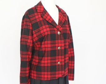60's Pendleton Wool Jacket / Black and Red Plaid  /  Medium