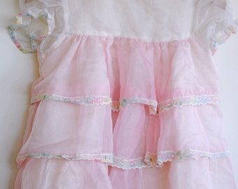 Vintage Baby Girl Dress - Rainbow Lace (12m)