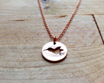 Hummingbird Fly Necklace in Copper Sterling Silver or 14k Gold Filled