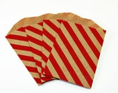 "25 Small Red Diagonal Stripe Kraft Bags . 2.75"" x 4"" for Favors, Candy, Gift Wrap, Packaging"