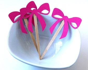 12 Ribbon Bows Party Picks, Cupcake Toppers or Skewers in Fuchsia (Hot Pink)
