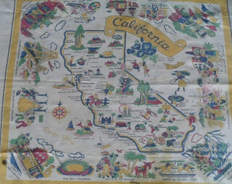 Vintage California State Tablecloth 40s 50s Antique Textile Fabric