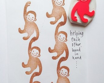 baby monkey stamp. animal hand carved rubber stamp. diy birthday baby shower christmas scrapbooking. gift wrapping. family holiday crafts