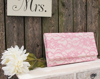The AMELIA Clutch - Dusty Rose Lace Clutch, Rose Pink and Ivory Clutch, Lace Wedding Clutch, Pink Lace Clutch, Pink Bridesmaid Clutch